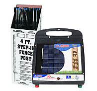 Fi-Shock® Solar-Powered, 10 Mile Charger with 50 Black Step-In Posts
