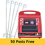 Red Snap'r® 10 Mile Solar Fence Charger with 50 Pigtail Posts