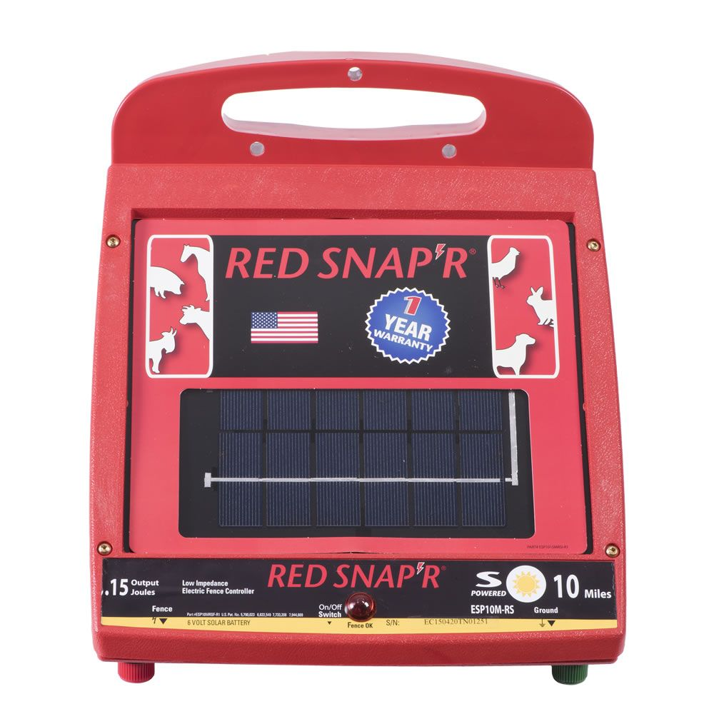 red snapu0027r 10 mile solar low impedance fence charger zareba esp10mrs